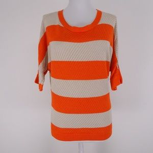 Express Knit Sweater Orange Stripes - Medium
